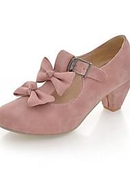 baratos -Mulheres Sapatos Courino Primavera MaryJane Saltos Salto Robusto Ponta Redonda Laço Vermelho / Azul / Rosa claro / Social