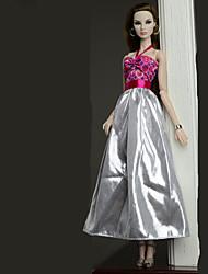 baratos -Vestidos Vestir Para Boneca Barbie Prateado Poliéster/Algodão Vestido Para Menina de Boneca de Brinquedo