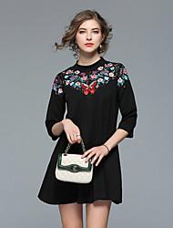cheap -Women's A Line Loose Dress - Jacquard Mini Stand
