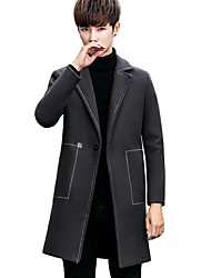 cheap -Men's Going out Casual Winter Fall Pea Coat,Solid Shirt Collar Long Sleeve Long Others Oversized