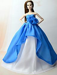baratos -Vestidos Vestir Para Boneca Barbie Azul Chifon Vestido Para Menina de Boneca de Brinquedo