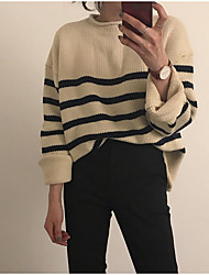 cheap -Women's Daily Casual Regular Pullover,Striped Round Neck Long Sleeves Polyester Fall Thin Micro-elastic