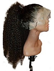 preiswerte -Damen Echthaar Perücken mit Spitze Mongolisches Echthaar Ohne Klebstoff und volle Spitze 130% Dichte Mit Strähnen Kinky-Curly Locken Afro