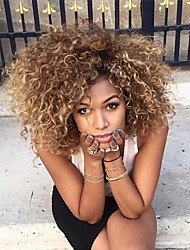 cheap -Synthetic Wig Curly Blonde With Bangs Synthetic Hair Ombre Hair / Highlighted / Balayage Hair / With Bangs Blonde Wig Women's Medium Length Capless