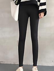 cheap -Women's Vintage Style Cotton Medium Solid Color Legging,Striped Black