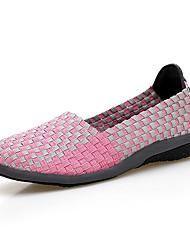 Недорогие -Жен. Обувь Полиуретан Весна / Осень Удобная обувь Мокасины и Свитер На плоской подошве Открытый мыс Черный / Серый / Пурпурный