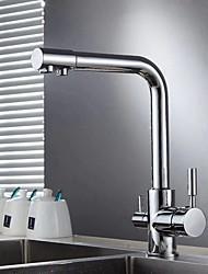 Недорогие -Современный напиток Бар / Prep По центру Вращающийся Керамический клапан Одной ручкой одно отверстие Хром, кухонный смеситель