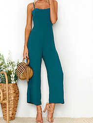cheap -Women's Boho Jumpsuit - Solid Colored Strap