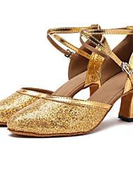 baratos -Sapatos de Dança Moderna Paetês Sandália / Salto Laços Salto Personalizado Personalizável Sapatos de Dança Dourado