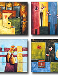 Недорогие -Мультипликация Масляные картины Предметы искусства,Пластик материал с рамкой For Украшение дома Предметы искусства в рамках Гостиная
