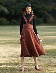 levne -Dámské Vintage A Sukně Jednobarevné