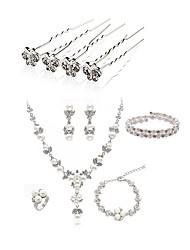 Недорогие -Жен. Комплект ювелирных изделий - Искусственный жемчуг, Искусственный бриллиант европейский, Мода Включают Шпильки для волос / Свадебные комплекты ювелирных изделий Белый Назначение / Свадьба