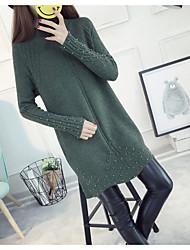 preiswerte -Damen Langarm Lang Pullover-Solide