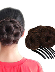 cheap -Dark Wine Dark Brown/Dark Auburn Strawberry Blonde/Medium Auburn Black Dark Brown/Medium Auburn Hair Bun Updo chignons Drawstring