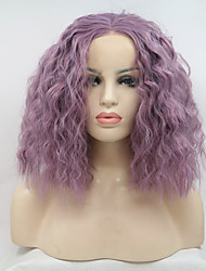 cheap -Sylvia Fashion Short Bob Lavender Synthetic Lace front Wig Water Wave Natural Hairlines Party Costume Wig