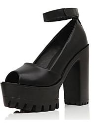 preiswerte -Schuhe PU Leder Frühling Sommer Komfort Pumps Knöchelriemen High Heels Blockabsatz für Party & Festivität Büro & Karriere Weiß Schwarz