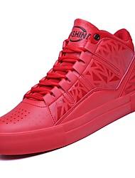 baratos -sapatos Micofibra Sintética PU Primavera Outono Conforto Tênis para Casual Branco Preto Vermelho