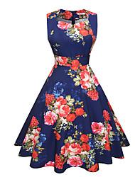 baratos -Mulheres Trabalho Feriado Moda de Rua Algodão Bainha balanço Vestido Floral Decote U Cintura Alta Altura dos Joelhos
