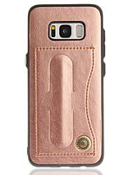 abordables -Funda Para Samsung Galaxy S8 Plus S8 Soporte de Coche con Soporte Funda Trasera Color sólido Dura Cuero de PU para S8 Plus S8 S7 edge S7