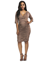 cheap -Women's Plus Size Vintage Casual Bodycon Sheath Dress - Solid Color, Ruched High Waist Asymmetrical V Neck