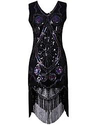 abordables -Gatsby Années 20 Costume Femme Robe à clapet Noir Doré Vintage Cosplay Polyester Manches Courtes Mancheron