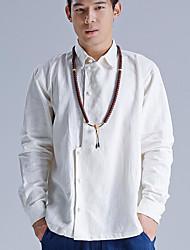 cheap -Men's Linen Shirt - Solid