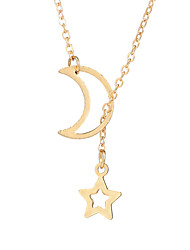 cheap -Women's Star Pendant Necklace - Simple Casual Fashion Moon Star Necklace For Daily School