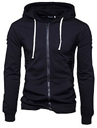 cheap -Men's Daily Sports Casual Hoodie Solid Hooded Without Lining Micro-elastic Cotton/nylon with a hint of stretch Long Sleeve Spring/Fall