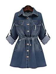 cheap -Women's Daily Casual Denim Dress,Solid Shirt Collar Above Knee Long Sleeve Polyester Winter Fall Mid Rise Micro-elastic Thick