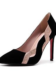 preiswerte -Damen Schuhe Kunstleder Frühling Herbst Komfort High Heels Stöckelabsatz Spitze Zehe für Kleid Party & Festivität Schwarz Rot