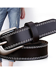 cheap -Men's Genuine Leather Waist Belt,Black Casual Stylish