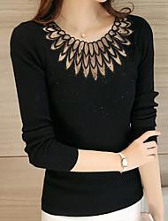 preiswerte -Damen Standard Pullover-Ausgehen Solide Rundhalsausschnitt Langarm Polyester Frühling Herbst Dünn Mikro-elastisch