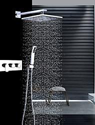 Moderní Nástěnná montáž Dešťová sprcha Včetne sprchové hlavice Keramický ventil Tři Rukojeti tři otvory Pochromovaný , Sprchová baterie