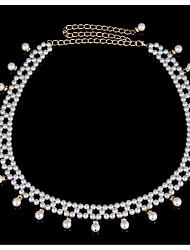 cheap -Women's Imitation Pearl Rhinestone Chain,Blushing Pink Casual Solid Color