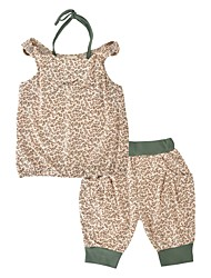 cheap -Girls' Daily Holiday Leopard Animal Print Clothing Set, Cotton Summer Sleeveless Casual Brown