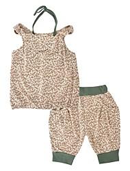 Недорогие -Девочки Набор одежды Повседневные Праздники Хлопок Леопард С животными принтами Лето Без рукавов На каждый день Коричневый