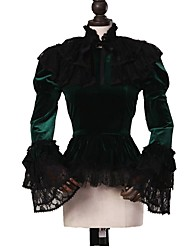 cheap -Gothic Lolita Dress Punk Women's Adults' Blouse/Shirt Cosplay Dark Green Long Sleeves