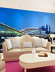 cheap -Art Deco 3D Home Decoration Contemporary City View Wall Covering , Canvas Material Adhesive required Mural , Room Wallcovering