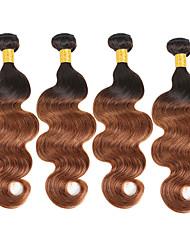 Недорогие -4 Связки Бразильские волосы Естественные кудри 10A Не подвергавшиеся окрашиванию Натуральные волосы Человека ткет Волосы 8-30 дюймовый Омбре Ткет человеческих волос Без запаха Для вечеринок Удлинитель