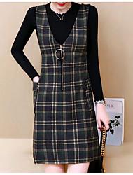 baratos -Mulheres Algodão Conjunto - Estampado Vestidos