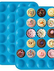 Недорогие -мини-кекс для торта 24 кексы силиконовый кекс блины для плесени без приклеивания лоток инструменты для выпечки различный цвет