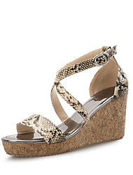 cheap -Women's Shoes Synthetic Microfiber PU / Horse Hair Spring / Summer Comfort Sandals Wedge Heel Animal Print Black / Almond / Wedge Heels