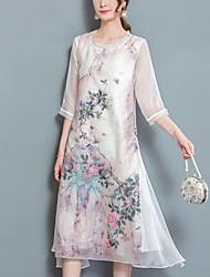 cheap -Women's Swing Dress - Floral, Split