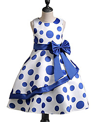 cheap -Girl's Polka Dot Dress,Cotton Polyester Spring, Fall, Winter, Summer Sleeveless Casual Red White Blue
