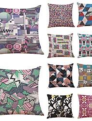 baratos -10 blocos pçs Linho Cobertura de Almofada, Geométrica Art Deco Xadrez