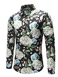 preiswerte -Herrn Bemalt Blumen Zeitgenössisch - Punk & Gothic Boho Hemd, Klassischer Kragen Leinen