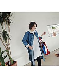 economico -Giacca di jeans Da donna Casual Semplice Autunno,Tinta unita A V Cotone Standard Manica lunga