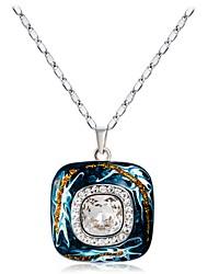 abordables -Mujer Cristal / Zirconia Cúbica Collares con colgantes - Cristal, Plateado Clásico Azul Claro Gargantillas Para Fiesta, Formal