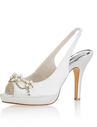 cheap -Women's Shoes Stretch Satin Summer Basic Pump Wedding Shoes Stiletto Heel Peep Toe Crystal / Pearl Ivory / Party & Evening