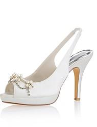 preiswerte -Damen Schuhe Stretch - Satin Sommer Pumps Hochzeit Schuhe Stöckelabsatz Peep Toe Kristall Perle für Hochzeit Party & Festivität Elfenbein